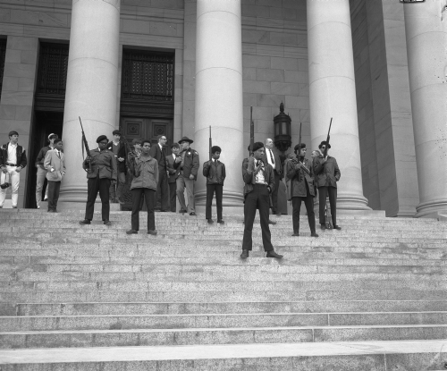 """Black Panthers on steps of Legislative Building, Olympia,"" State Governors' Negative Collection 1949-1975, Photographs, Washington State Archives, Digital Archives."