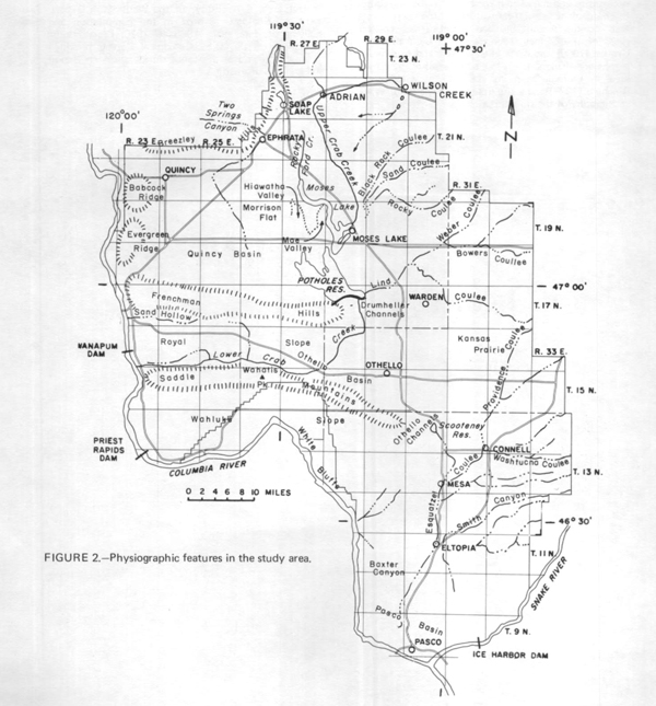 Map of the physical features and geographic provinces within the Columbia Basin Irrigation Project area. Digital-Model Study of Ground-Water Hydrology, Columbia Basin Irrigation Project Area, Washington; 1974 Department of Ecology report.  E-Publications Collection.