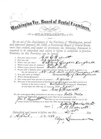 George Barnett, Professional License Records, Department of Licensing, Business and Professions Division, Dental License Applications, 1888, 1909-1936, Washington State Archives, Digital Archives.