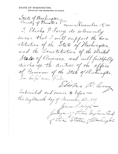 Gov. Elisha P. Ferry's Oath of Office, Oaths of Office Series, 1854-2009, Washington State Archives, Digital Archives.