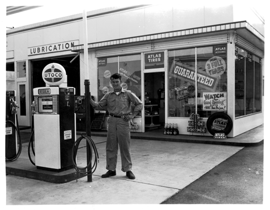 """UTOCO Gas Station,"" A.M. Kendrick Photographic Collection, ca. 1890-1976, Photographs, Washington State Archives, Digital Archives."