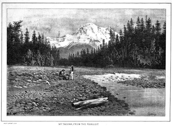 """Hidden from Sight"" collection includes this image of Mount Rainier from the Puyallup River. (Image courtesy of Washington State Library)"