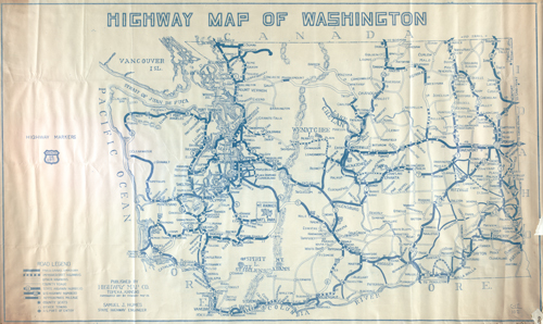 Highway Map of Washington, Record Series, Map Records, General Map Collection, 1851-2005, Washington State Archives, Digital Archives.