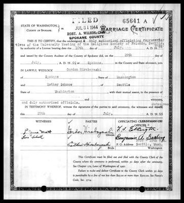 Spokane County marriage certificate of Gordon Hirabayashi and Esther Schmoe who married July 29, 1944, Marriage Records, Spokane County Auditor, Marriage Records, 1880-2013, Washington State Archives, Digital Archives.
