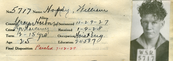William Hoppy, Corrections Department, Reformatory, Admissions Registers, 1908-1923, Washington State Archives, Digital Archives.