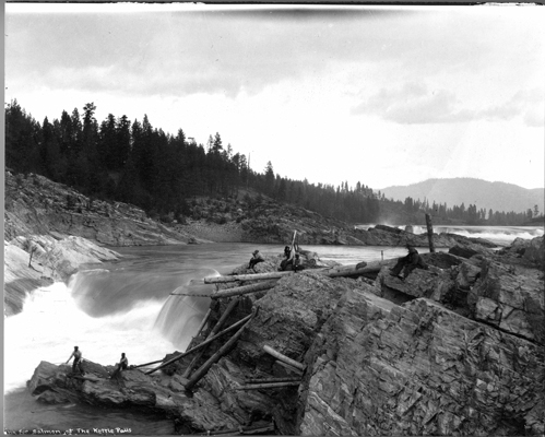 """Fishing for Salmon at the Kettle Falls,"" 1910-1940, Kettle Falls History Center Photographs, Crossroads on the Columbia, Washington State Archives, Digital Archives."