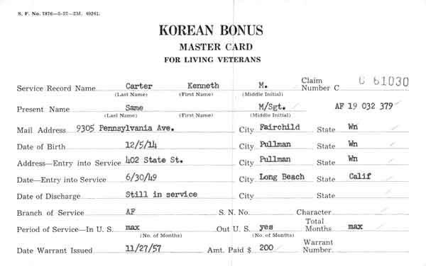 Korean War Era Veterans' Bonus Claims Card, 1955-1960, Department of Veterans' Affairs.