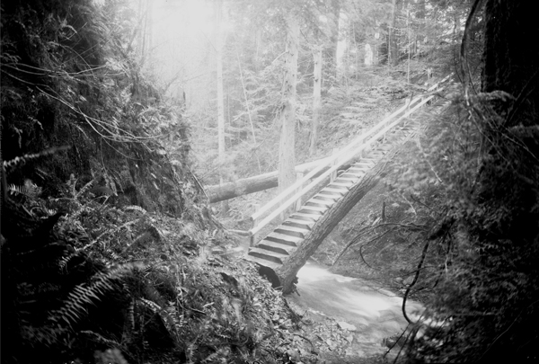 Bridge at Cascade Falls, Moran State Park, 1934, State Parks and Recreation Commission, Photographs of Park Development, 1933-1938, Washington State Archives, Digital Archives