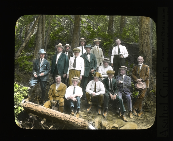 Spokane businessmen on the Mount Spokane Road, Photograph, Conservation Department, Planning and Development Division, Lantern Slide Shows, 1908-1939, Washington State Archives, Digital Archives.