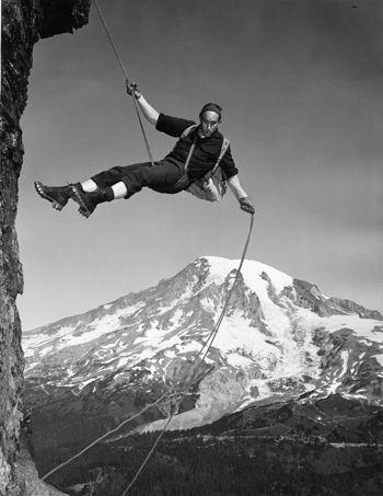 A Mountaineer Rappels, Photographs, General Subjects Photograph Collection, 1845-2005, Washington State Archives, Digital Archives.