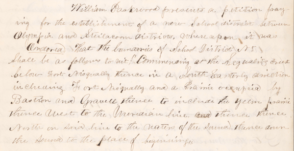 One transaction of 06 September 1852, page 15 in the book (page 19 of the digital record).  Thurston County First Record Book, Miscellaneous Family History Collection.