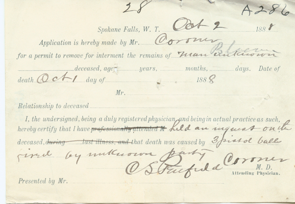 Unknown Death Certificate, Spokane County, 1888, Spokane County Death Return Collection, Washington State Archives, Digital Archives.