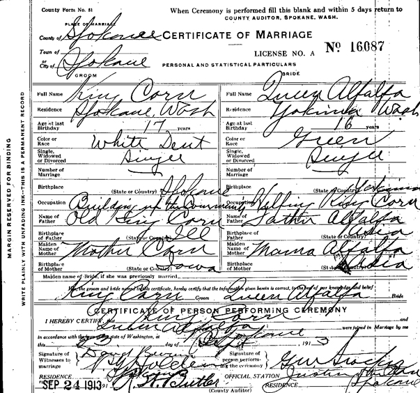 1913 Marriage Record, Spokane Marriage Records, Washington State Archives – Digital Archives.  Original record held at the Washington State Archives – Eastern Regional Branch in Cheney, WA.