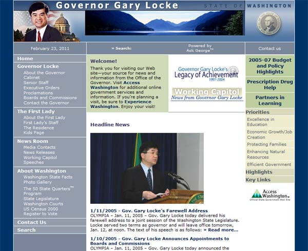 Website of Governor Gary Locke